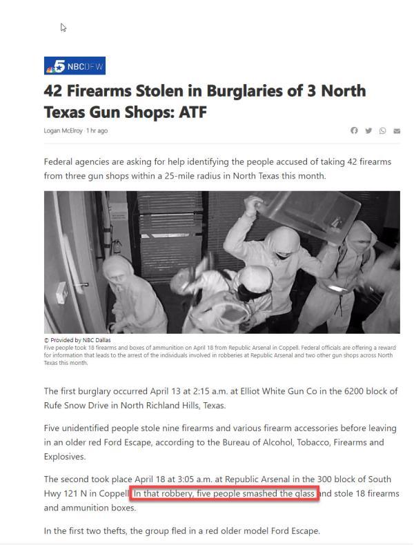 Gun Store Burglary Texas